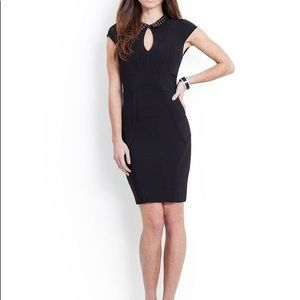 Guess cap sleeved collar bandage dress